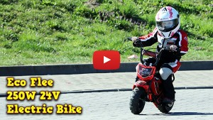 5-year-old Amelia practices on her first electric motorbike ECO Flee 250W