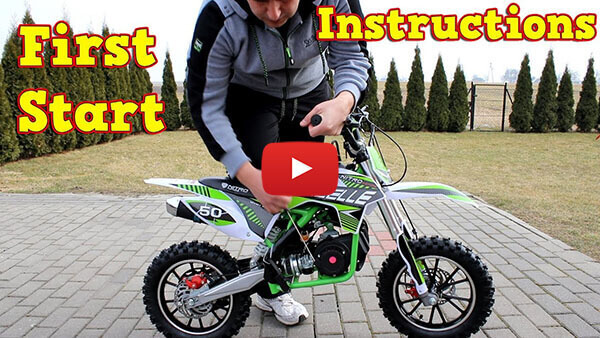 Video Instructions how to start engine in Gazelle Deluxe 50cc Mini Dirt Bike Kids Motorbike