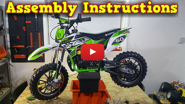 Video Instructions how to assemble Gazelle Deluxe 50cc Mini Dirt Bike Kids Motorbike