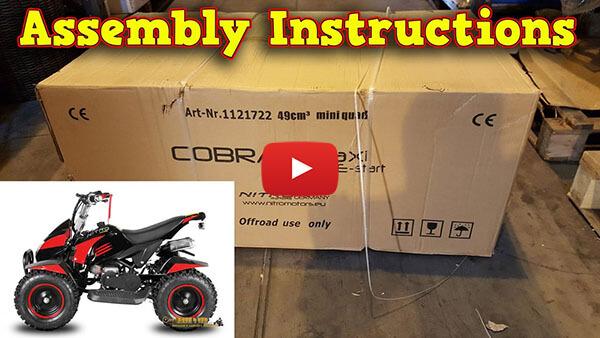 Video Instructions how to assemble Cobra II 49cc E-Start PETROL KIDS MINI QUAD BIKE