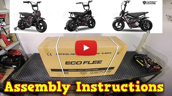 Video Instructions how to assemble Eco Flee 250W 24V Electric Dirt Bike Kids Motorbike