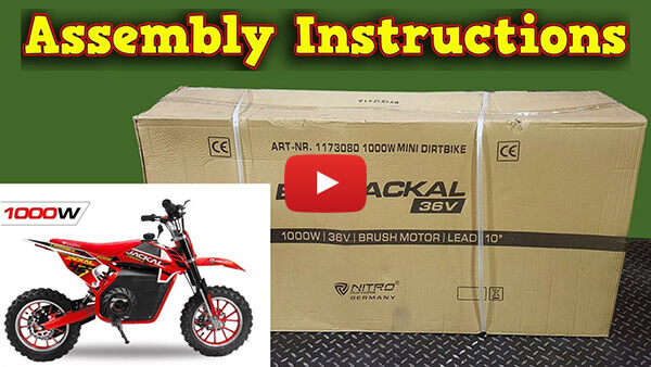 Video Instructions how to assemble Jackal 1000W 36V Electric Dirt Bike Kids Motorbike