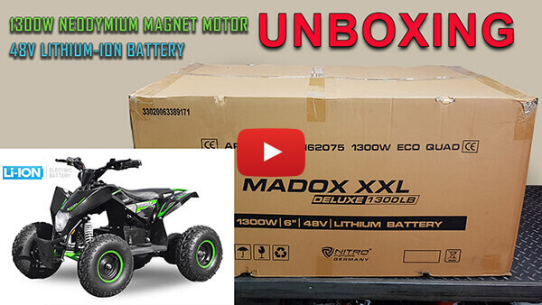 Video Instructions how to assemble Madox Deluxe L 1300W 48V Li-Ion Kids Electric Quad Bike