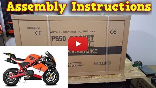 Video Instructions how to assemble PS50 Rocket Sport 50cc Pocket Bike Mini Moto