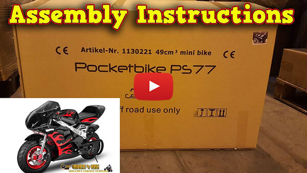 Video Instructions how to assemble PS77 50cc Pocket Bike Mini Moto Racing Bike