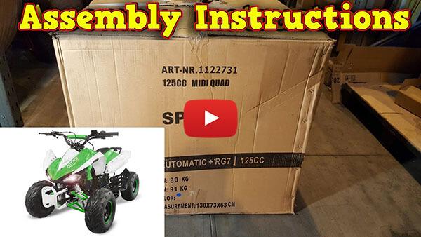 Video Instructions how to assemble Speedy RG7 125cc PETROL KIDS MIDI QUAD BIKE