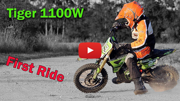 Tiger 1100W 36V LI-ION Electric Dirt Bike Kids Motorbike Test ride video