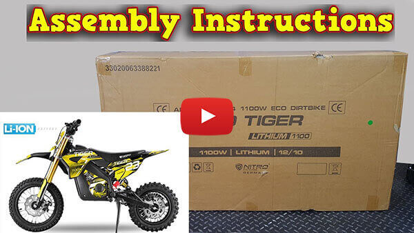 Video Instructions how to assemble Tiger 1100W 36V LI-ION Electric Dirt Bike Kids Motorbike
