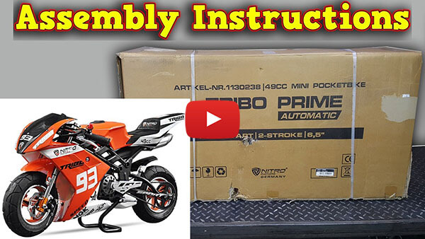 Pocket Bike Mini Moto 50cc - Unboxing - Full Assembly Instructions Tribo from Nitro Motors