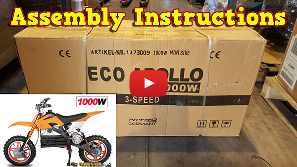 Video Instructions how to assemble APOLLO 1000W 36V Electric Dirt Bike Kids Motorbike