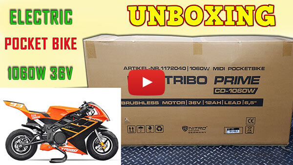 Video instructions how to assemble Tribo 1060W 36V electric pocket bike