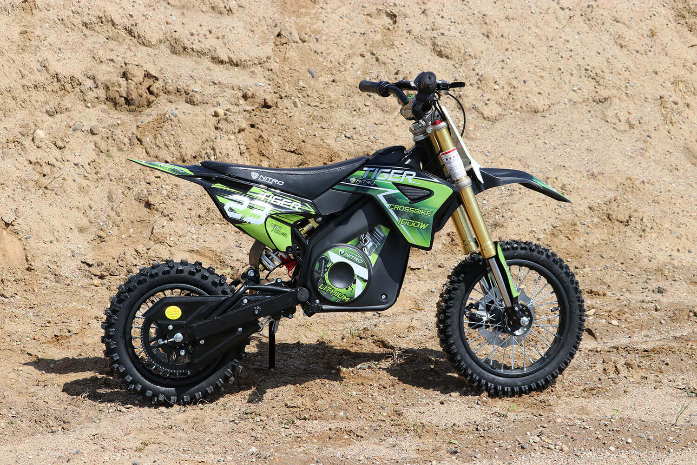 Tiger 1100W 36V Electric Dirt Cross Bike Kids Motorbike with Neodymium Magnet motor and Lithium Ion Battery from Nitro Motors, Mini Bikes Store
