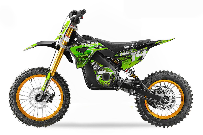 Tiger 1300w 48v Li Ion Electric Dirt Bike Big Wheels 14 12
